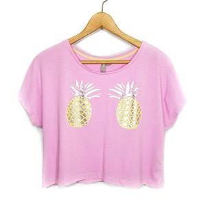 5 for $25 Asos pink pineapple crop t-shirt XS